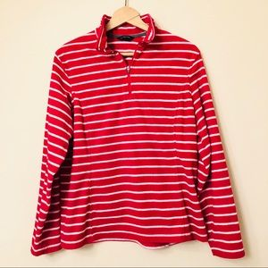 Lands End Quarter Zip Fleece Red White Stripe XL